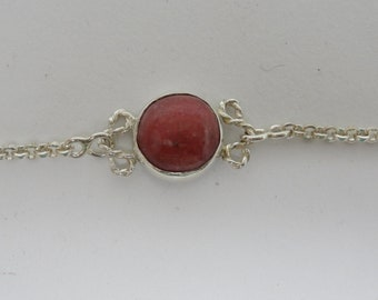 Silver graceful bracelet with rhodochrosite.