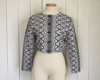 Damask Jacket 80s Cropped Button Up Jacket Black White Geometric Print Ethnic Vintage Passports Pier 1 Imports Small S