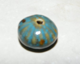 14 - Ceramic, teal and brown, 22x14mm fluted rondelle beads