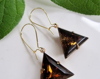 Topaz Triangle Earrings, Brass, Geometric Earrings, Trending Style, Modern Earrings, Long, Redpeonycreations