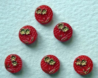 Glass buttons, a set of 6, vintage.  Floral red pressed glass with gold lustre, small, chequered background, 2 hole sew-thru's. c1930's.