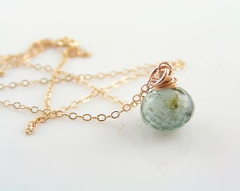 Rose Gold Necklace with Moss Aquamarine, Aquamarine Necklace, Aquamarine Jewelry, March Birthstone Jewelry, Rose Gold Jewelry, N1661
