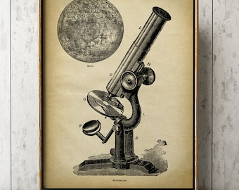 Microscope and moon astronomy print, astronomy room decor, astronomy poster, celestial wall art, wall decor, astronomical drawing