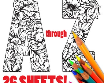 ALPHABET, Floral, Flowers, Adult Coloring Sheets, Coloring, Page, Sheets, Digital, Printable, Coloring Page for Adults, Coloring Book