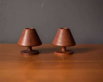 Pair of Mid Century Teak Candle Holders