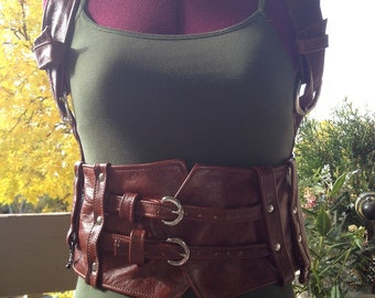 Made to order, one of a kind leather steampunk holster top with buckle straps