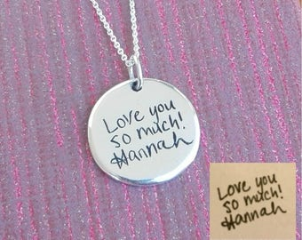 Handwriting Round Necklace. Your actual loved one's signature or handwriting. Handwritten Necklace. Memorial Jewelry. Fine Silver