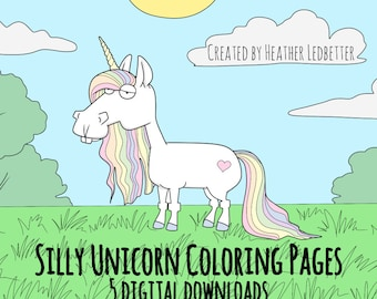 Silly Unicorn Coloring Pages- 5 Printable Pages