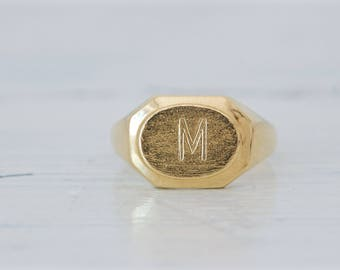 Dainty Letter M Ring | Vintage Monogram Ring | 18k Yellow Gold Midi Ring | M Initial Ring | Tiny Stacking Ring | Pinky Ring | Size 5.5