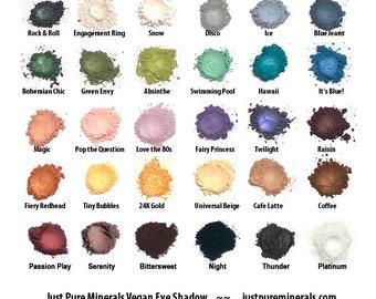 Choose 3 Vegan Eye Shadows - Cruelty Free Mineral Eye Shadow- 1.5g of product each in a 5g sifter jars