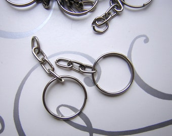 25  Split Key Rings with Chain - Key Chain Findings - Approximately 2 cm Silver Metal