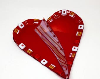 """Fused Glass Plate – 8"""" Cherry Red Heart Dish"""