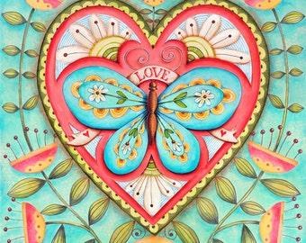 Buttterflly Love - 8x8 Art Print Scripture Christian Inspirational Wall Art