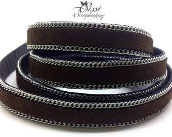 20cm cord flat faux leather suede Brown chain BRACELET creating 10 x 2.8 mm