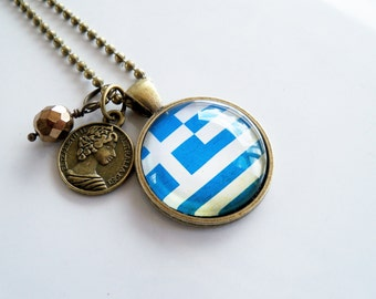 Flag of Greece Necklace - World Flag Jewelry - Country Flag - Patriotic Pendant - Southeastern Europe - Custom Jewelry - Blue and White