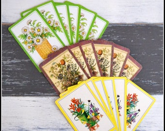 Vintage Playing Card Grouping - Lot of Vintage Cards - Playing Cards - Card Swap - Flower Playing Cards   (#F4)