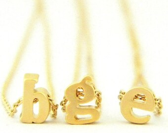 Gold Floating Initial Necklace, Peronalized Necklace, Gold Initial Necklace