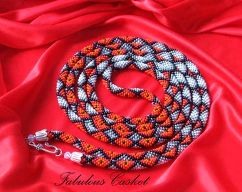 "Bead Crochet Rope Necklace ""Geometry"""