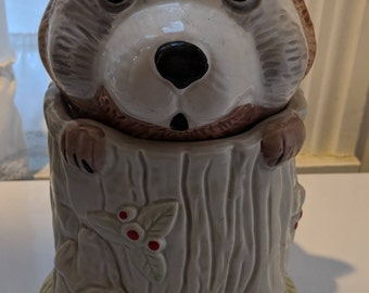 Cute Hand Painted Vintage Raccoon Cookie Jar