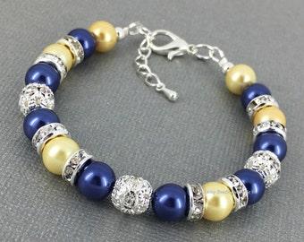 Light Yellow Bracelet Navy Bracelet Pearl Bracelet Bridesmaid Gift Maid of Honor Jewelry Navy Yellow Wedding Jewelry Gift idea