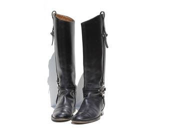 Vintage Black Leather Knee High Boots / size 7