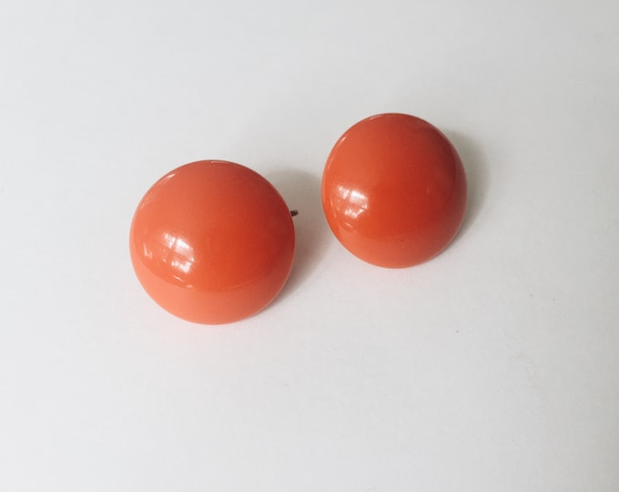vintage statement earrings | red orange earrings| clip on earrings | statement earrings | clip on studs | Able Shoppe