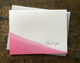 SALE   Letterpress Thank You Cards   Note Card   Greeting Card   Thank You Card   Gray and Pink Dip Dye