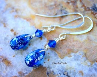 Dainty Blue Teardrop Earrings Simple Silver Dangles Cobalt Blue Crystal Earrings Unique Boho Dainty Drop Earrings