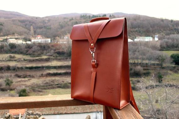 Custom backpack. Color natural Leather. Desing Ludena men bag. Leather backpack for men, leather school bag,