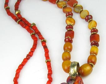 Stunning Amber Beaded Necklace with Handmade Glass Heart Focal Pendant - One-of-a-Kind Amber Beaded Neckace with African Bronze Saucer Beads
