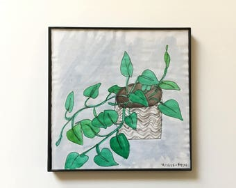 84/100: Houseplant - original framed watercolor illustration