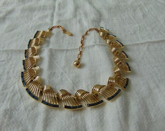 vintage west germany sapphire crystal baguettes gold filigree necklace choker gold blue necklace signed 1950s germany