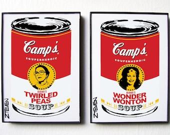 Wonder Woman and Diana Prince Pop Art Soup! original framed art by Zteven