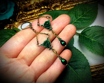 Forest Green Rose Pearl Bronze Victorian Gothic Earrings, Rosebud Emerald Crystal Steampunk Edwardian Dangle Drops Titanic Temptations 12005
