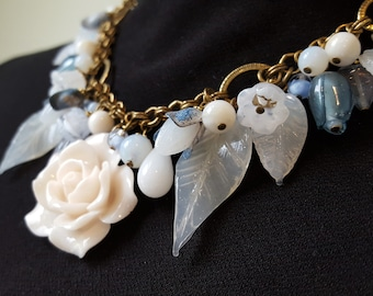 Floral Bib Necklace Charm Style, Spring color Pale Milky Blue and Cream, Vintage Milk Glass, Statement Necklace, Upcycled Jewelry veryDonna