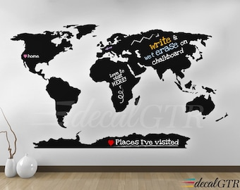 World map countries wall decal borders outlines dry erase world map wall decal world map decal with antarctica world map wall art gumiabroncs Gallery
