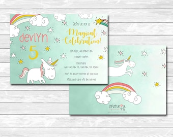 Printable unicorn birthday party invitation, rainbows, stars, shooting star, magical, front, back, pink, card, modern, The Petunia Tree