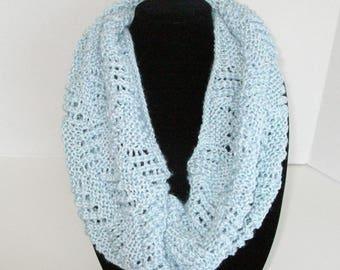 Light Blue Lace Cowl / Blue Knit Circle Scarf