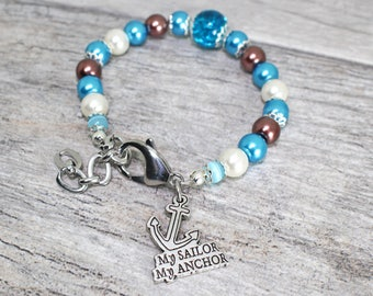 My Sailor My Anchor Stainless Steel Trinket Bracelet   USN Wife, Girlfriend Jewelry   Navy Love Bracelet   Milso Charm
