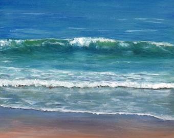 Sea Beach Ocean Waves Burleigh Beach Australian seascape SFA Original acrylic seascape painting by Australian Artist Janet M Graham