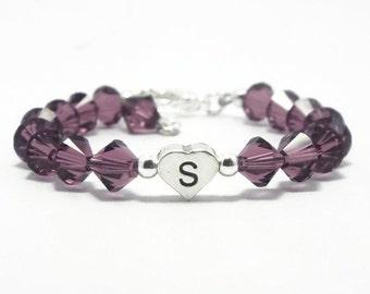 Birthstone Bracelet, Amethyst Bracelet, February Birthstone, Initial Jewelry, Monogram Bracelet, Amethyst Jewelry, Baby Bracelet (B154-47)