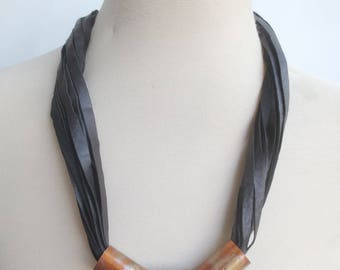 Black Leather Statement Necklace Copper Spacers String Necklace Leather Jewelry