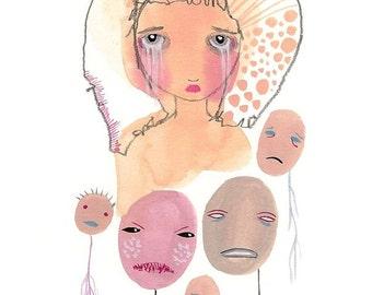 Crying original art sad girl sulk sulking pink and purple