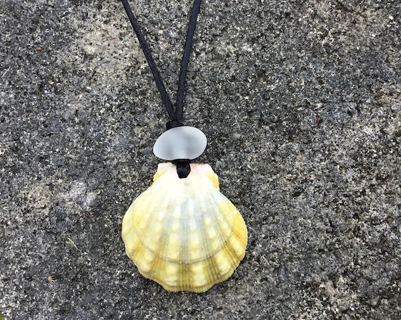 UNISEX-Hawaiian Sunrise Shell, Recycled White Seaglass, Black Satin Cord Necklace