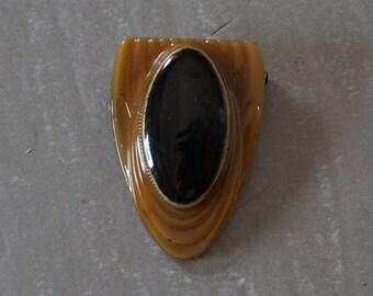 Brooch art deco brooch piece vintage brooch Black Brown Tan and gold brooch pin mottled piece