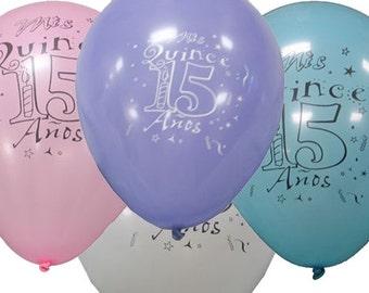 "12"" Quinceanera Balloons (12)  Globos para Quinceanera de Latex"