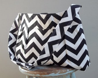 Black and white Chevron Diaper Bag Custom with Adjustable Strap Six Pockets Attaches to Stroller