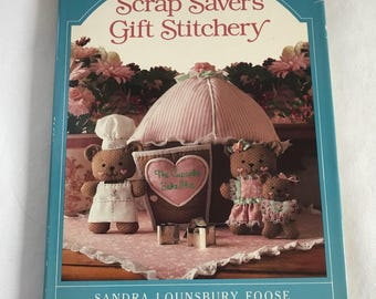 vintage craft books, kids crafts book, vintage sewing book, Sandra Lounsbury Foose, Scrap Savers Gift Stitchery