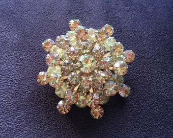 Vintage Jonquil Yellow and Colorado Topaz Rhinestone Snowflake Brooch 1476