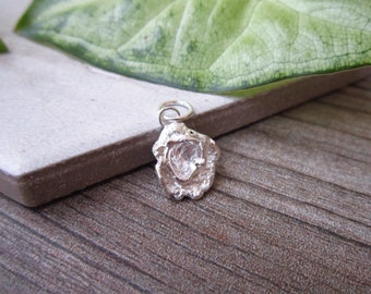 Water Cast Sterling Silver Pendant - Natural Style Organic Freeform Pendant - Unique Flower Pendant - Recycled Silver Jewelry - Molten Metal